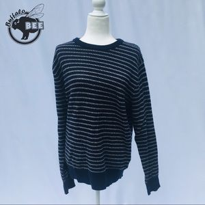 J Crew wool blue and grey striped sweater Large